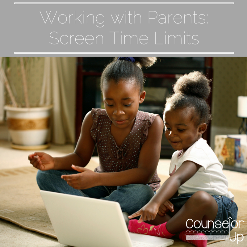 Working with Parents: Screen Time Limits www.counselorup.com Do you ever see kids at school who you suspect are spending many hours a day on digital devices?  Would you like to talk to their parents about setting some healthy limits but aren't sure what to say?  You're wise to be tentative in approaching any parent about their parenting!   ​Parents want to be seen as competent.  When you approach them to discuss setting healthy limits on their kids' media usage, you can easily trigger feelings of inadequacy and being judged.  Before parents can hear your message, they need to feel that you are on their side - trying to help them, not make them feel bad about their parenting.