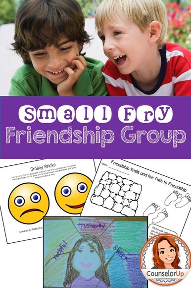Friendship Group for the Littles  Five session group designed for 1st-3rd grades. Includes lesson plans, activities, and roster sheet.   Skills covered: identifying friendship qualities, body language, friendship blockers, handling rejection, and positive self talk.  Includes: - Friendly/Unfriendly body language role play and card sort - Smiley sticks (color and B&W) - Path to Friendships printable - Full lesson plans for 5 sessions