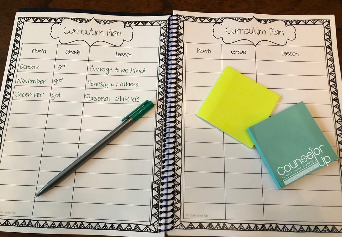 Counselor Planner 2016-17 Include your curriculum plan in your planner so that you know which lessons are coming next. There are 6 pages for a total of 66 lessons. There is plenty of room to write notes if you write on the small side. I included a few reminders in my plan. Interested in any of these lessons? Check out my K-2 Curriculum Plan and 3-5 Curriculum Plan.  www.counselorup.com